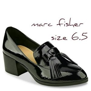 Nwot marc fisher phylicia 2 loafer black patent